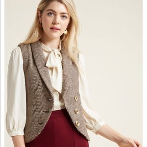 ModCloth Asymmetrical wool blend lined vest